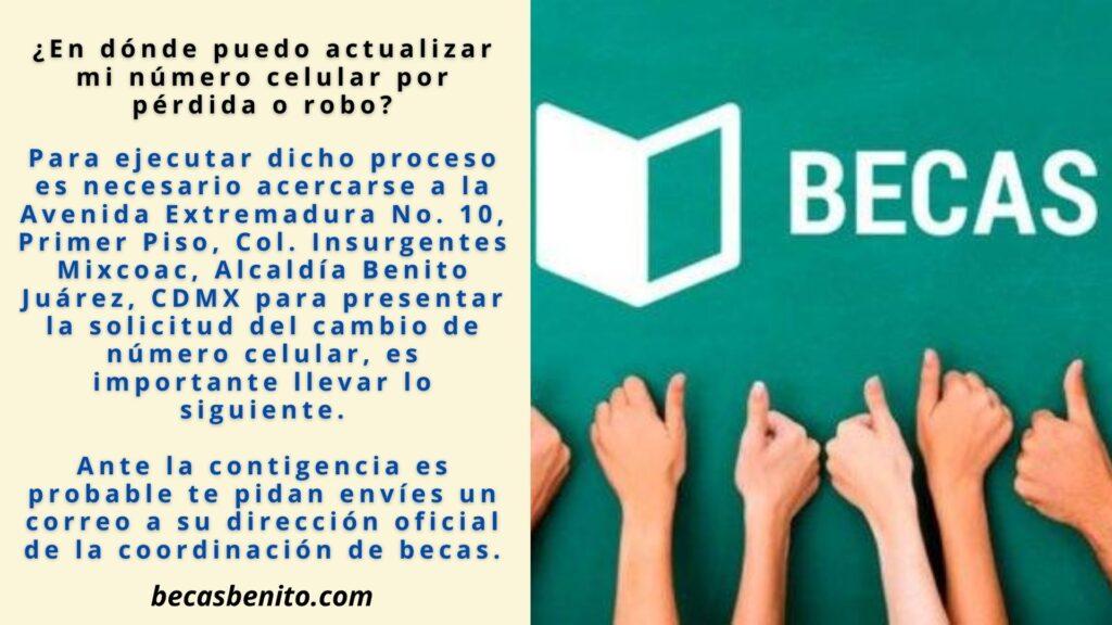 Actualizar número de Celular becas Benito Juárez