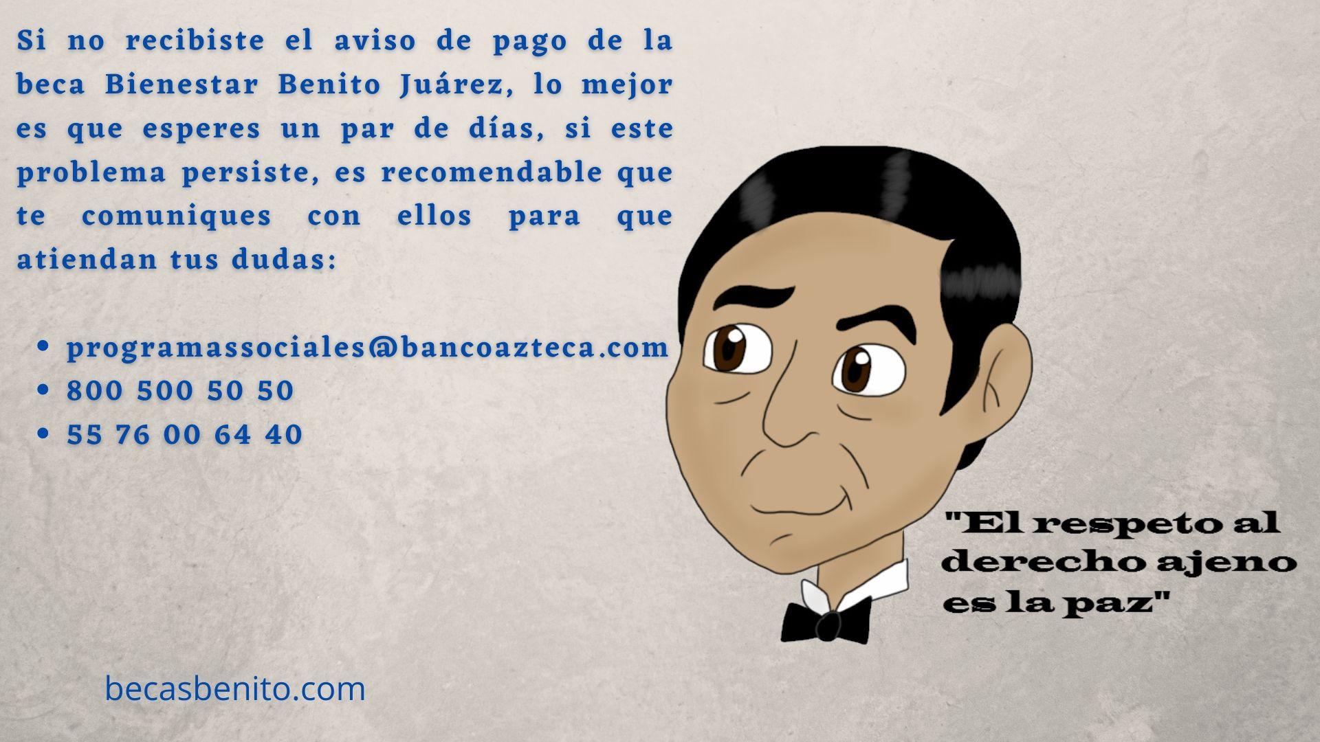 aviso cobro becas Benito Juárez