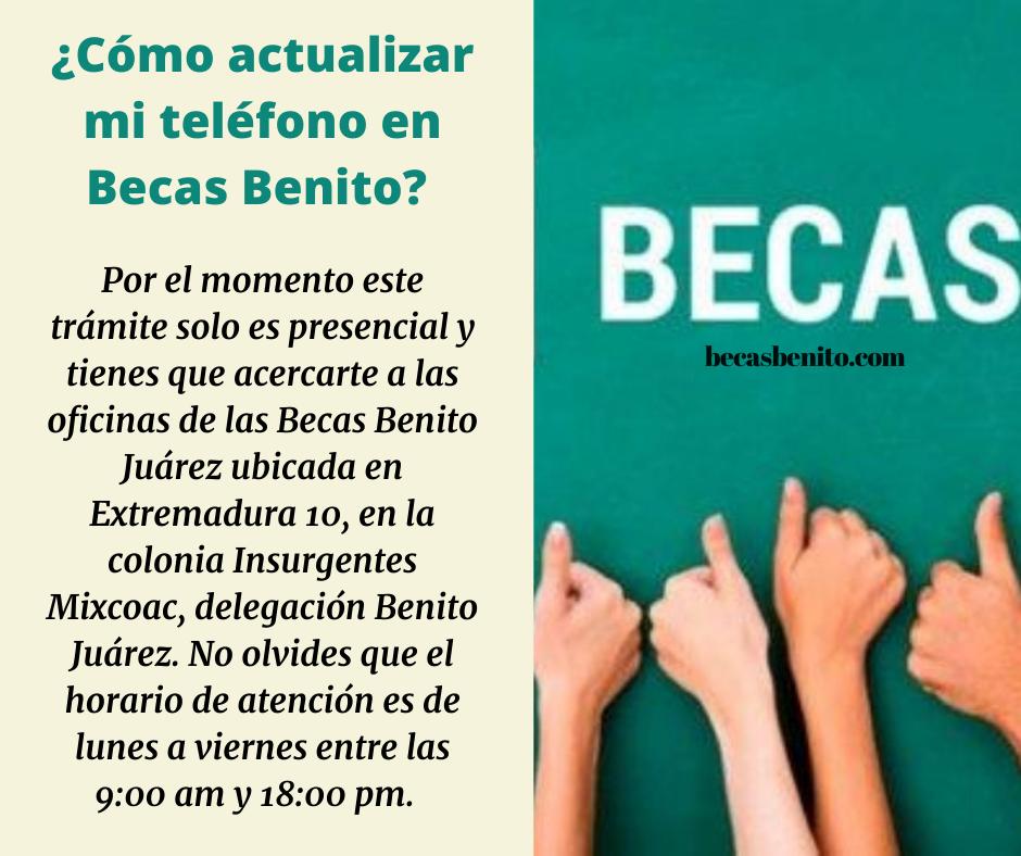 Cambio de número de teléfono en Becas Benito